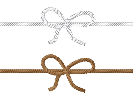 Yellow and grey rope bow on white background