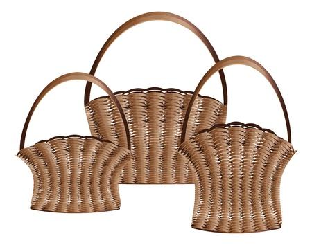 weaved: Illustration of brown wooden weaved baskets on white background  Illustration