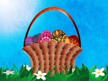 Grunge easter card with a woven basket with colorful easter eggs on grass field. Stock Photo - 18064884