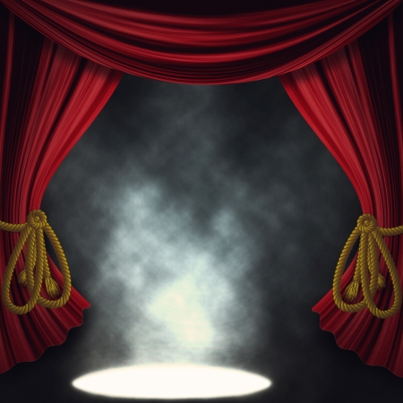 Theater stage with open red curtain and three spotlights and smoke.