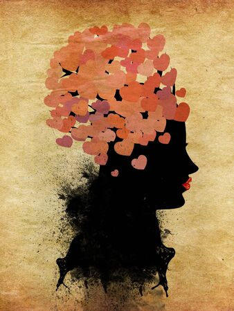 pape: Silhouette of a girl with red lips and pink hearts on her head on pape. Stock Photo