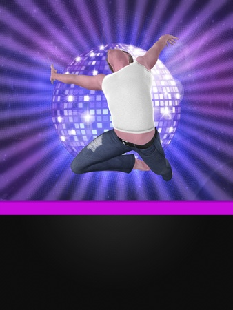 clubber: Disco background with 3d male dancer jumping. Stock Photo