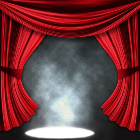 cirque: Theater stage with open red curtain and three spotlights and smoke.