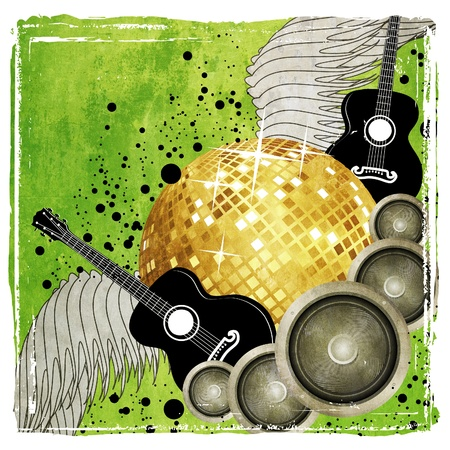 Grunge green music background with golden disco ball, speaker and guitar. Stock Photo - 18086077