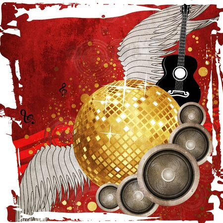 Grunge red music background with golden disco ball, speaker and guitar. photo