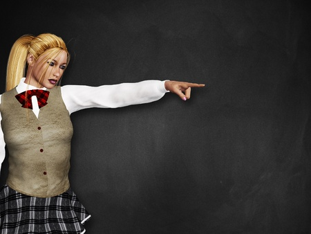 3d blonde girl stands over the black board background. photo