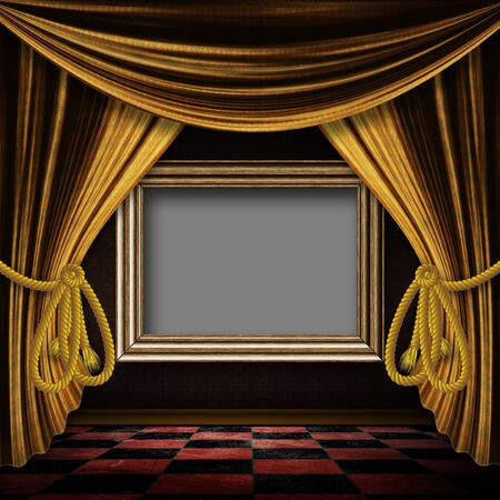 exclusive photo: Interior with golden curtains and vintage wooden photo frame. Stock Photo