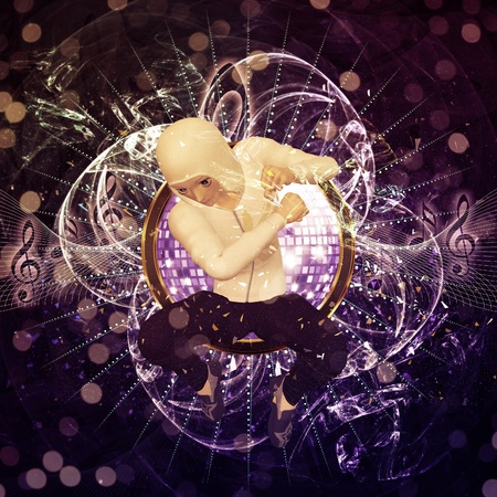 Party background with 3d male dancer in white hoodie jumping. photo