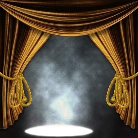 red carpet event: Theater stage with open golden curtains and three spotlights and smoke. Stock Photo