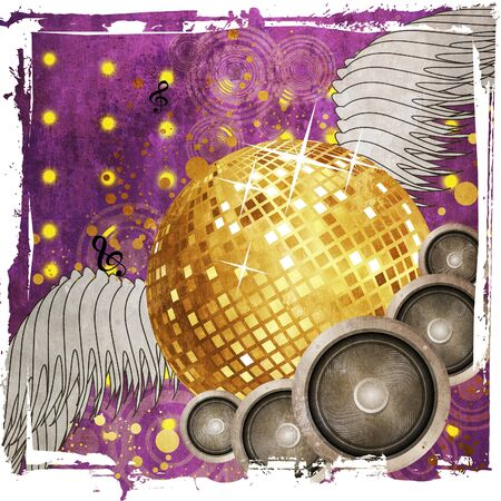 gold record: Grunge music background with sparkling golden disco ball with wings.
