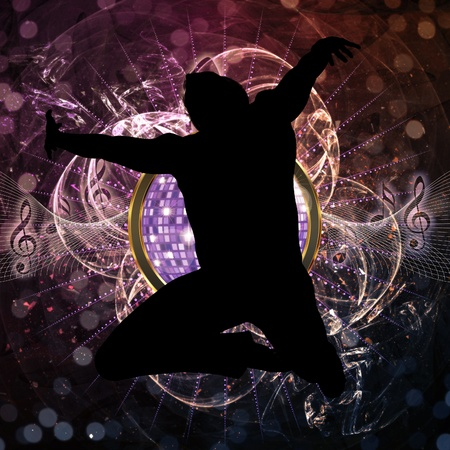 clubber: Disco background with disco ball and silhouette of male dancer jumping.
