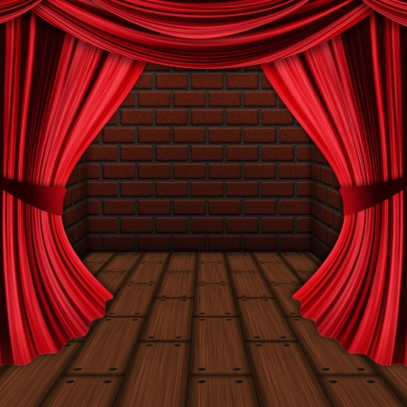 thespian: Room with opened red drapes, curtains and wood floor background.