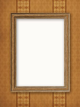 Old wooden photo frame on grunge wallpaper background. photo