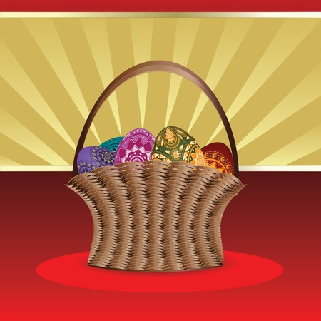 revive: Beautiful easter card with woven basket of colorful eggs. Illustration