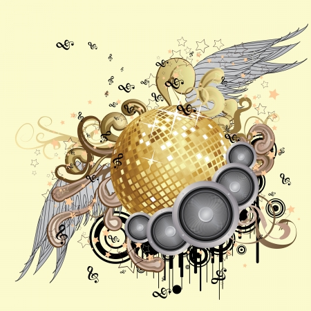 Music background with sparkling golden disco ball with wings. Vector