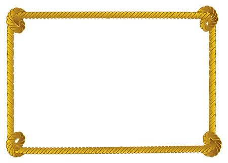 Yellow rope frame, border on white background.