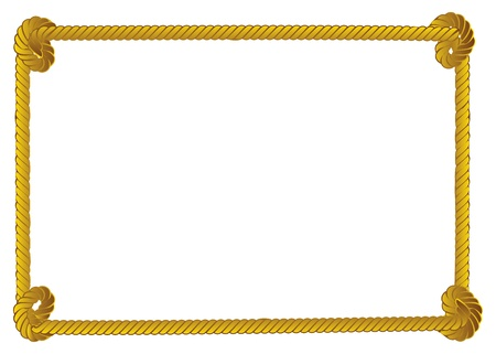 Yellow rope frame, border on white background. Vector
