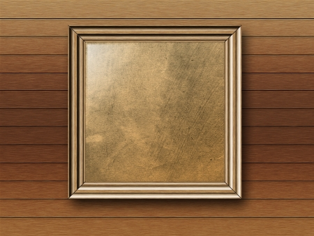 Vintage empty photo frame on wooden wall background. Stock Photo - 18238081