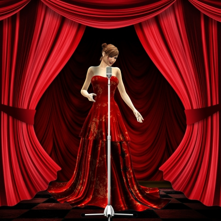 3d woman in long red dress on stage with red curtains. photo