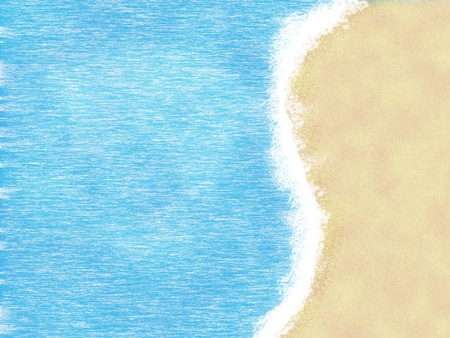 Beautiful cartoon summer tropical beach, seascape background. photo
