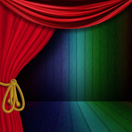 Vintage rainbow wood room with red curtain background. photo