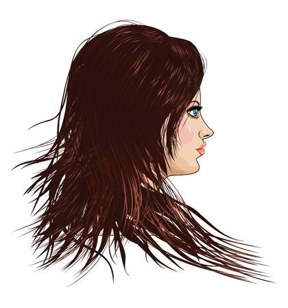 twirling: Portrait of a girl with brown hair on white background. Illustration