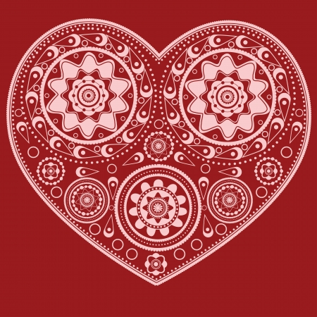 Illustration of abstract ornamental heart on red background. Vector