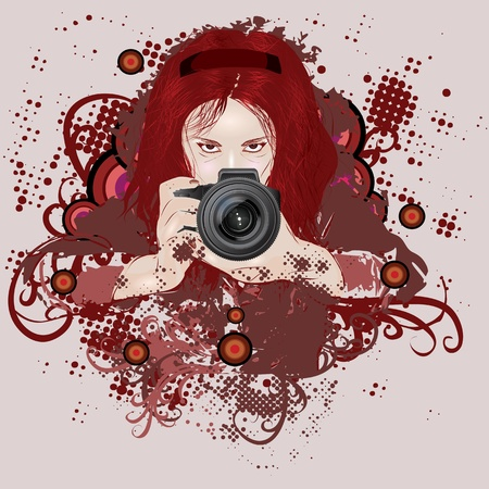Red haired girl photographer with camera in hands on grunge background. Vector