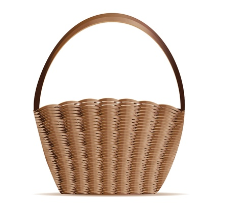hand basket: Illustration of empty woven basket on white background.