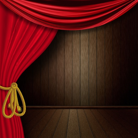 Old dark wood interior with red curtain background. photo