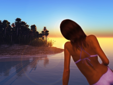 3d woman in bikini on a sunset beach background. photo