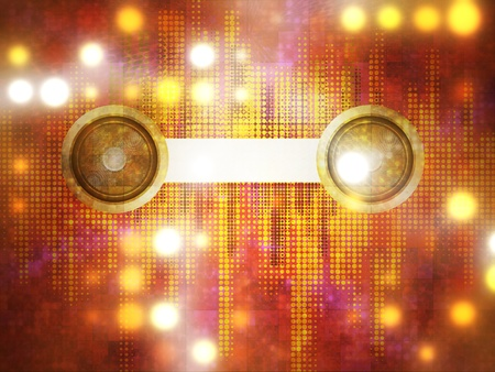Two audio speakers on colorful glowing dotted background. photo