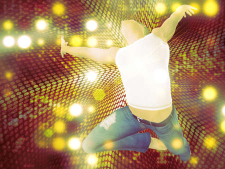 3d man jumping on abstract colorful dotted background. photo
