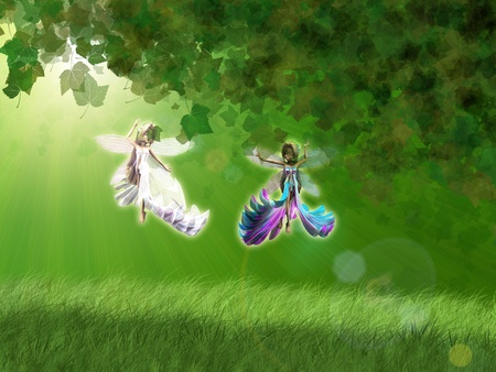 3d beautiful fairies in the forest flying over green grass. photo
