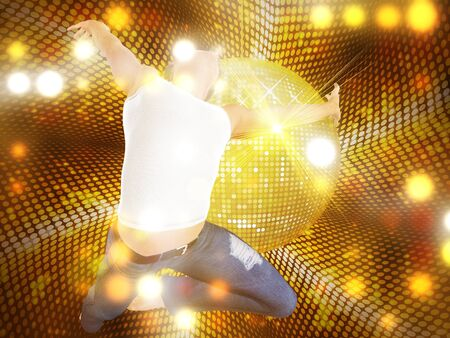 3d man jumping on yellow glowing dotted background with disco ball. photo