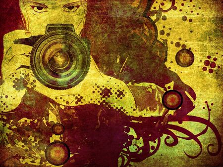 Girl photographer with camera in hands on abstract grunge background. photo