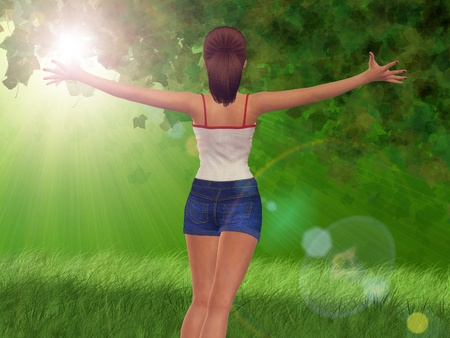 3d girl in blue jeans short over green sunny forest background. Stock Photo - 18460147