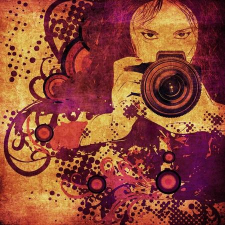 Ragazza fotografo con la macchina fotografica in mano su sfondo astratto grunge. Archivio Fotografico - 18460155