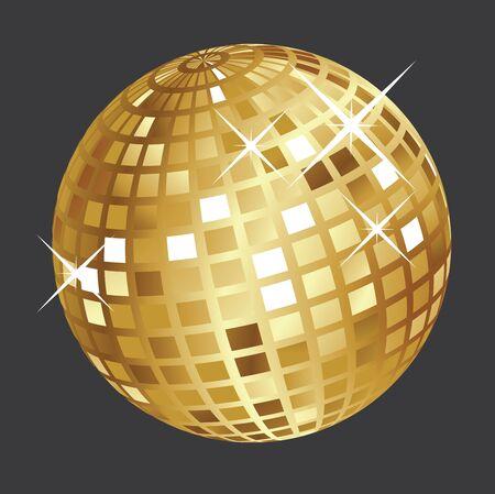 mirrored: Shining golden disco ball on dark grey background.