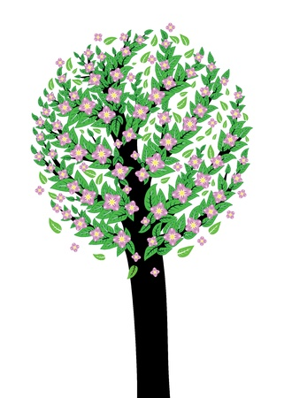 Abstract tree with green leaves and pink blossom. Stock Vector - 18495663