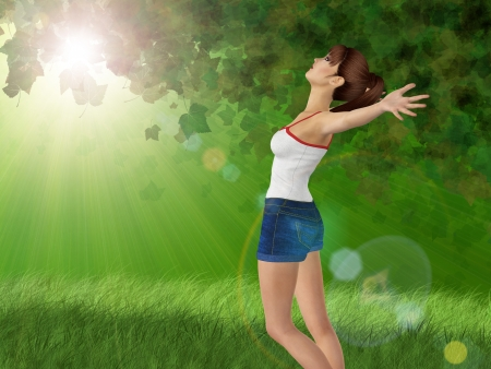 3d girl in blue jeans short over green sunny forest background. Stock Photo - 18495688