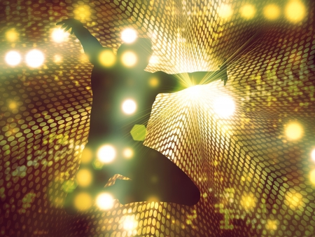 Jumping, dancing male silhouette on abstract shining background. photo