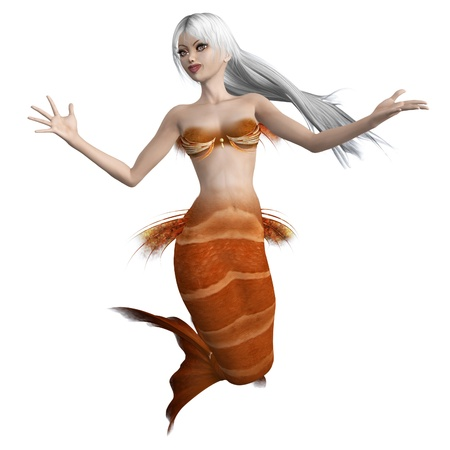 Digitally rendered image of a beautiful mermaid with orange tail and white hair. photo