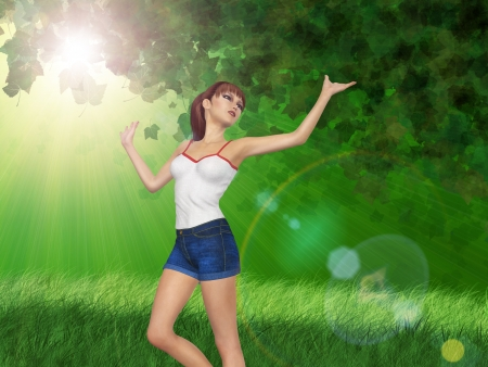 3d girl in blue jeans short over green sunny forest background. Stock Photo - 18549232