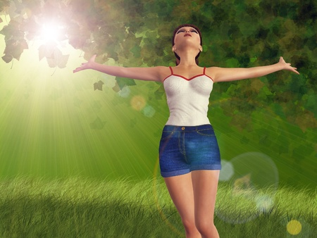 3d girl in blue jeans short over green sunny forest background. Stock Photo - 18549217