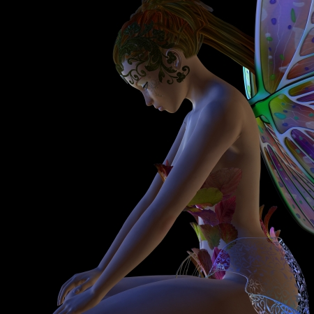 Digitally rendered image of a beautiful flower fairy sitting on black background. Stock Photo