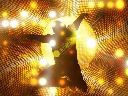 Jumping, dancing male silhouette on abstract shining background with disco ball. photo