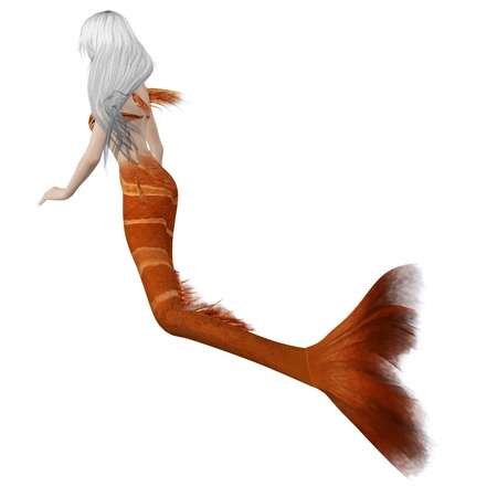 Digitally rendered image of a beautiful mermaid with orange tail and white hair. Stock Photo - 18547426