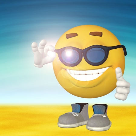 Happy 3d smiley guy on sand and blue sky background. photo
