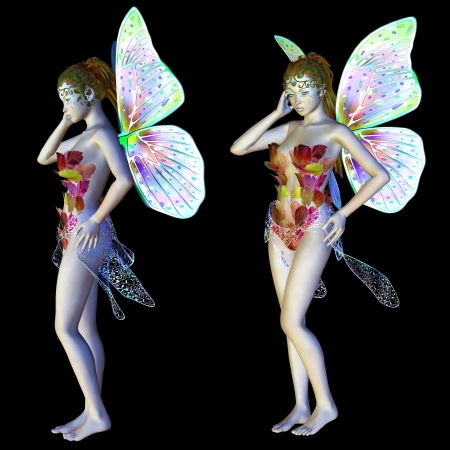 Digitally rendered image of a beautiful flower fairy on black background.